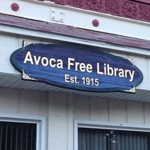 Blue Avoca free library sign